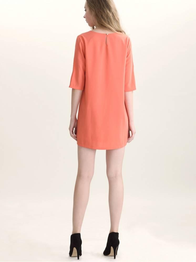 復古箱形洋裝-橘色
