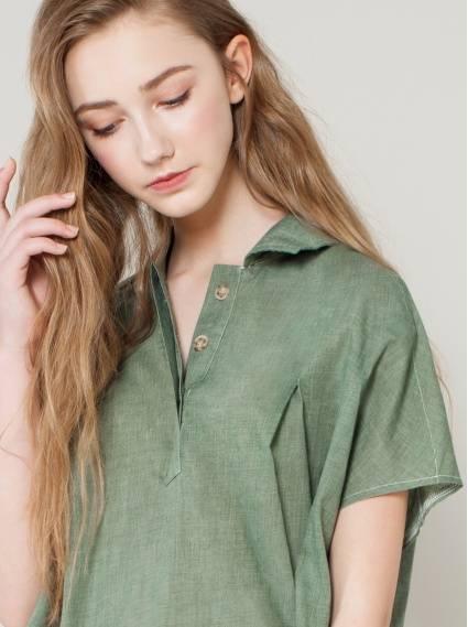 寬鬆輕棉打褶上衣-綠