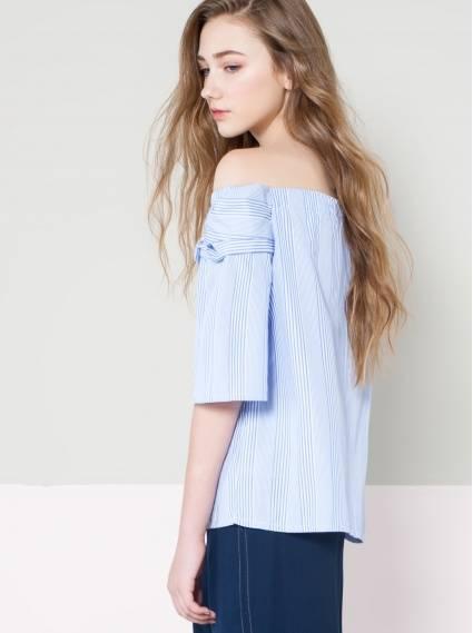 條紋寬袖一字領上衣-藍