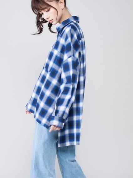 復古格紋前短後長襯衫-藍