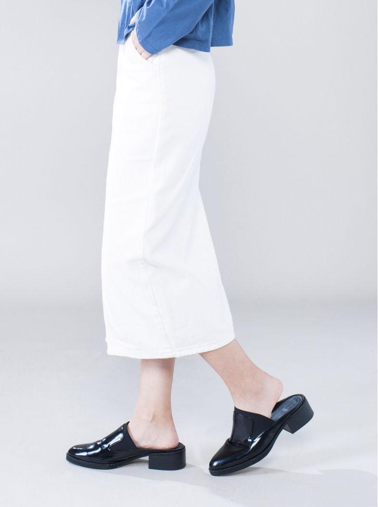 高腰休閒開衩牛仔裙-白