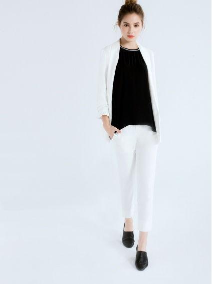 俐落9分西裝褲-白