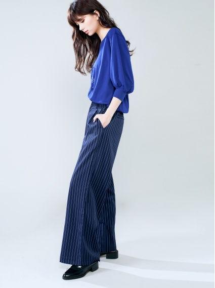 高腰鬆緊寬褲-深藍