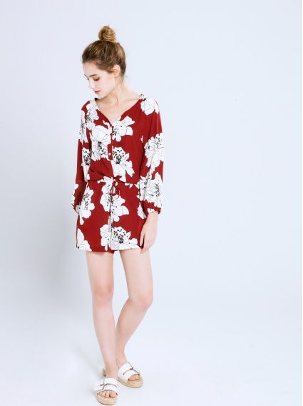 雪紡印花連身短褲-紅