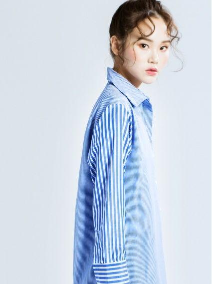 前短後長條紋長版襯衫-藍