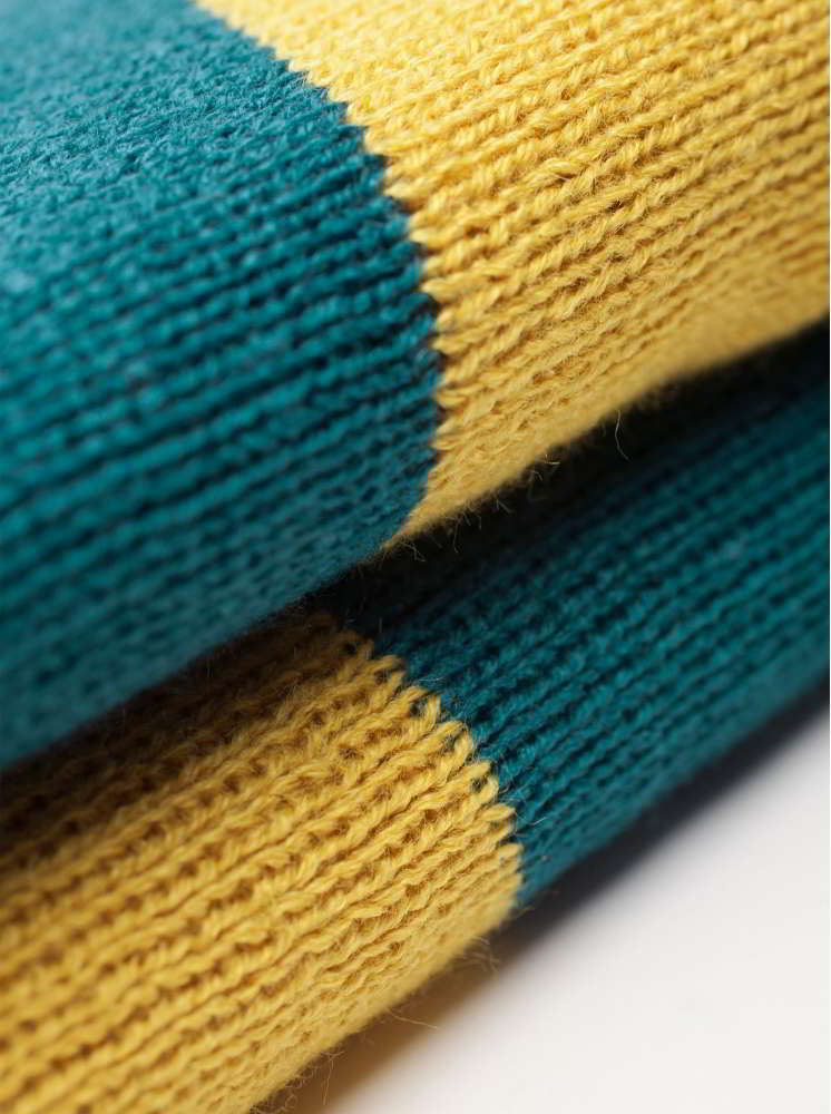 條紋圍巾-藍綠