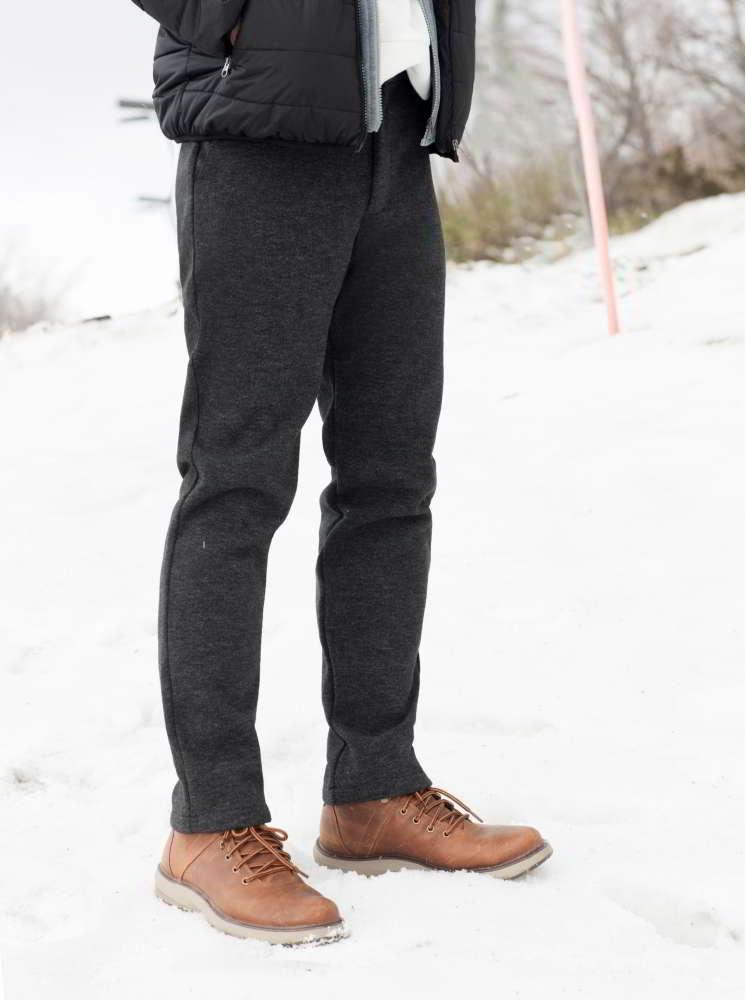 男款厚磅刷毛彈性西裝褲-深灰