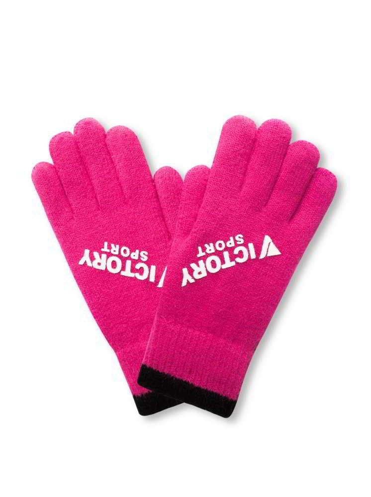 運動風格針織手套-桃紅