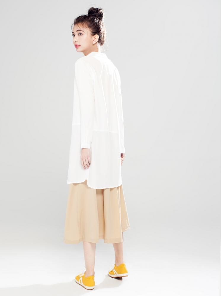 拼接長版襯衫-白