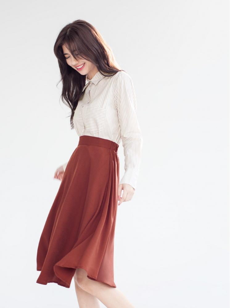 純棉拼接條紋襯衫-杏