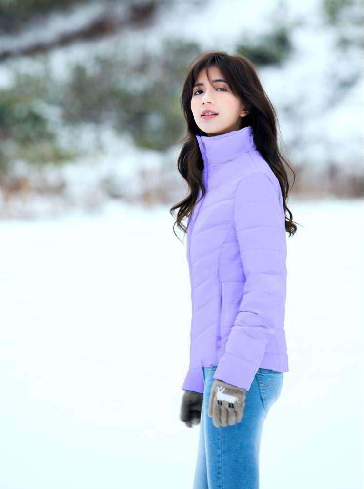 短版高領直線條防水羽棉-粉紫
