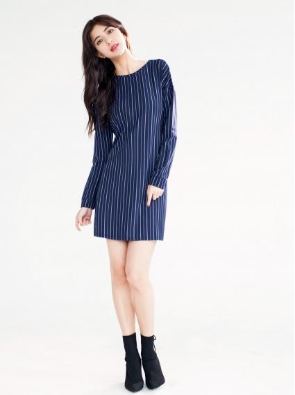 假兩件式條紋洋裝-深藍