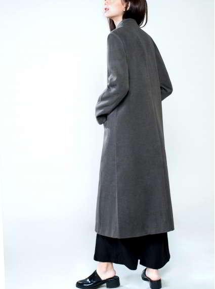 立領長版毛呢大衣-深灰