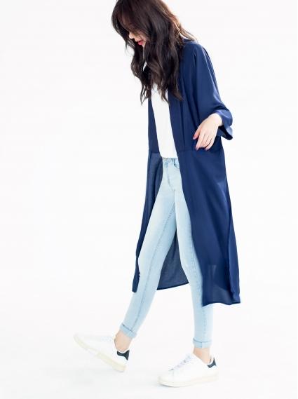 雪紡開岔長罩衫-深藍