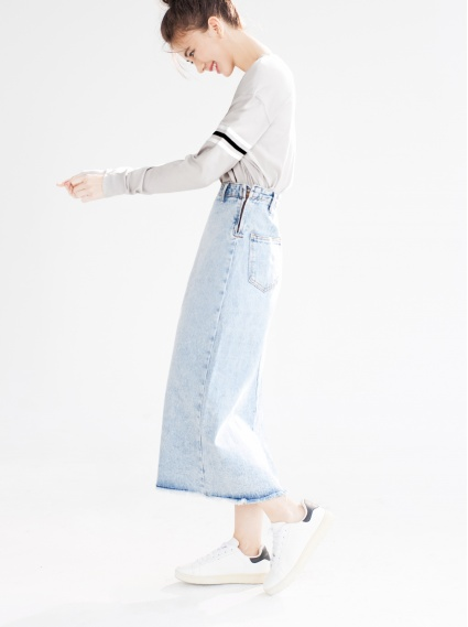 自然刷色牛仔裙-淺藍