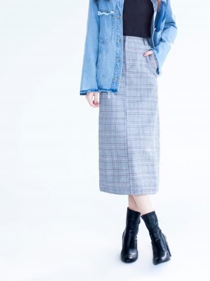 格紋修身直筒裙-深卡