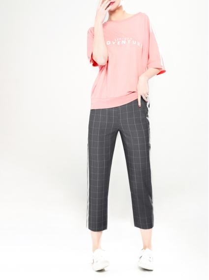 格紋織帶裝飾八分褲-灰