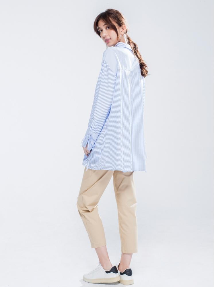 拼接條紋襯衫-淺藍