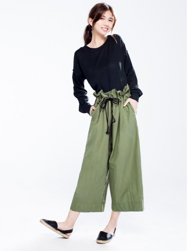 鬆緊拉繩寬鬆褲-軍綠