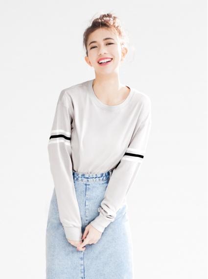 裝飾條紋純棉T-灰
