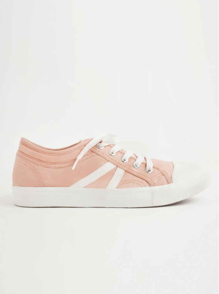 手工帆布鞋(厚底)-粉