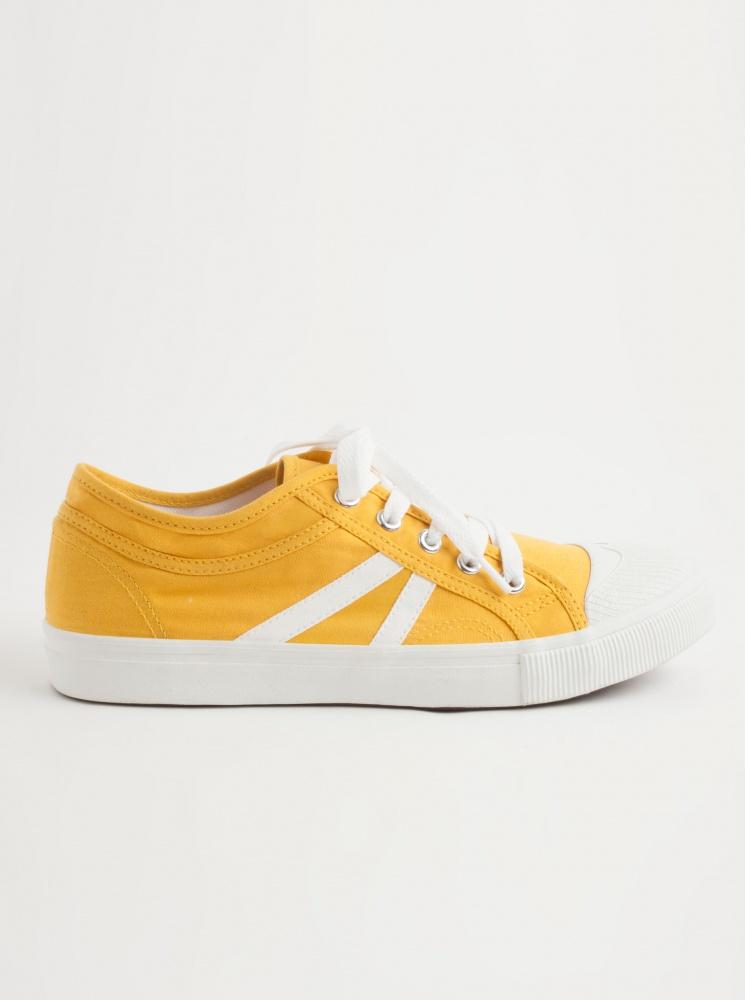 手工帆布鞋(厚底)-黃