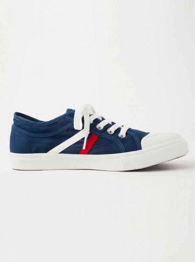 手工帆布鞋(厚底)-藍