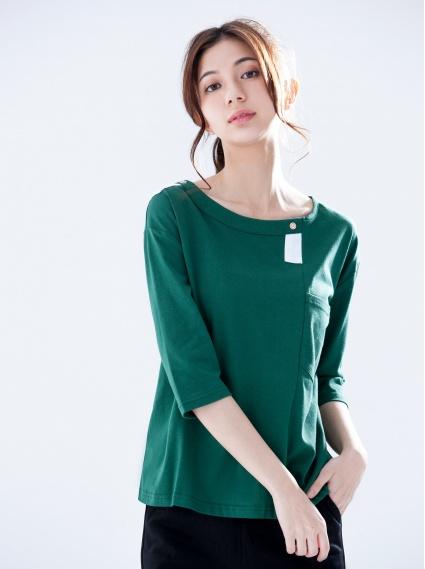 小方框拼接上衣-綠