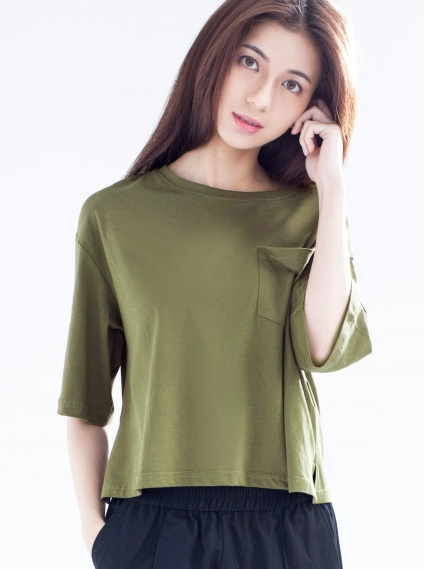 冰絲棉短版落肩T-綠