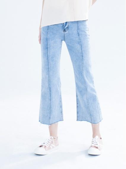 縮脂彈性八分喇叭褲-淺藍