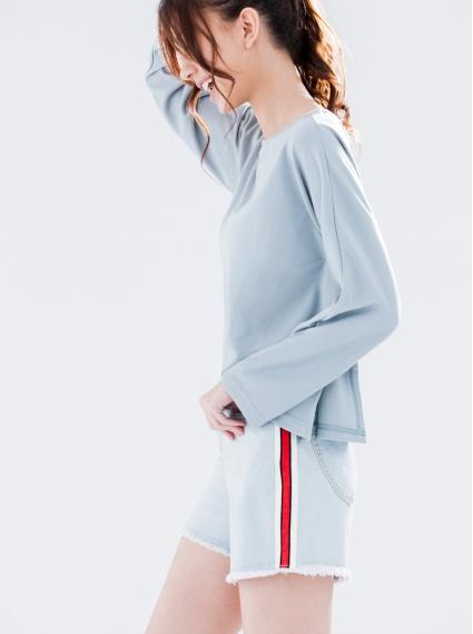 高腰織帶彈性牛仔短褲-淺藍