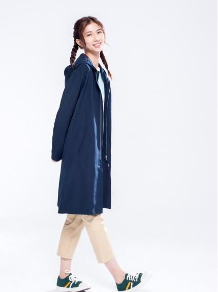 防潑水連帽抽繩長版外套-藍