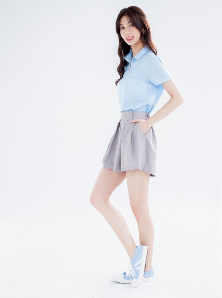 美腿の秘西裝褲裙-淺灰