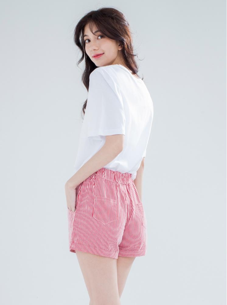 夏日條紋反摺褲-紅