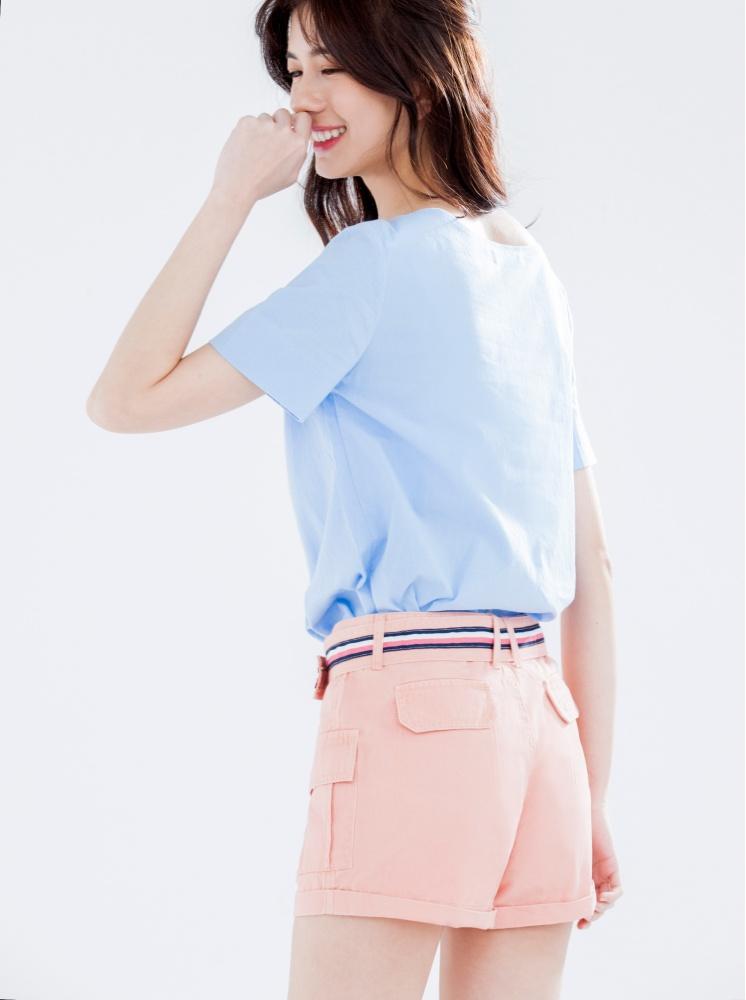 翹臀水洗工作短褲(附腰帶)-蜜桃粉