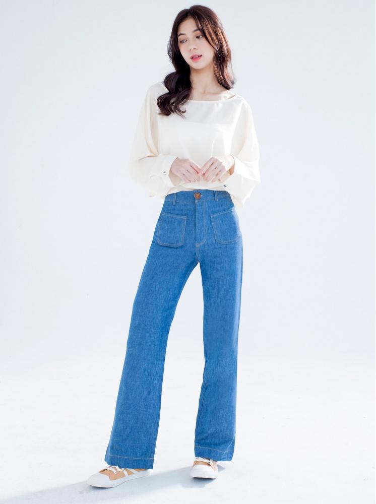 高腰牛仔喇叭褲-淺藍