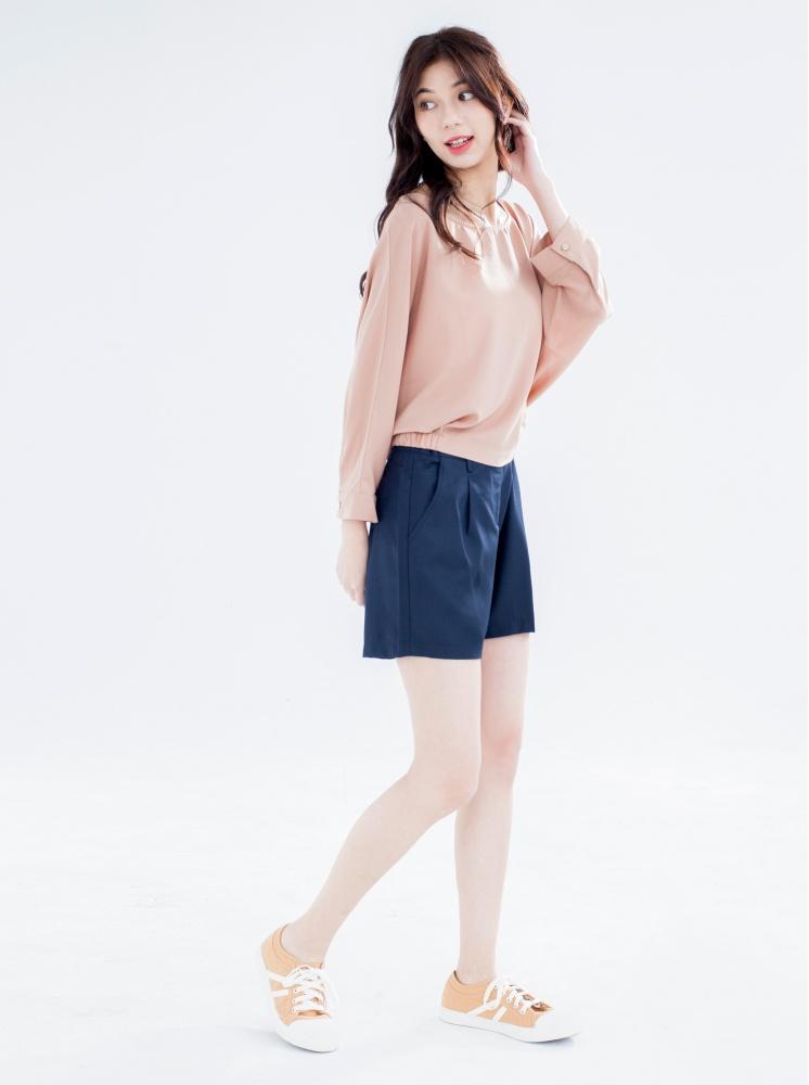 超纖腿加強版西裝短褲-深藍