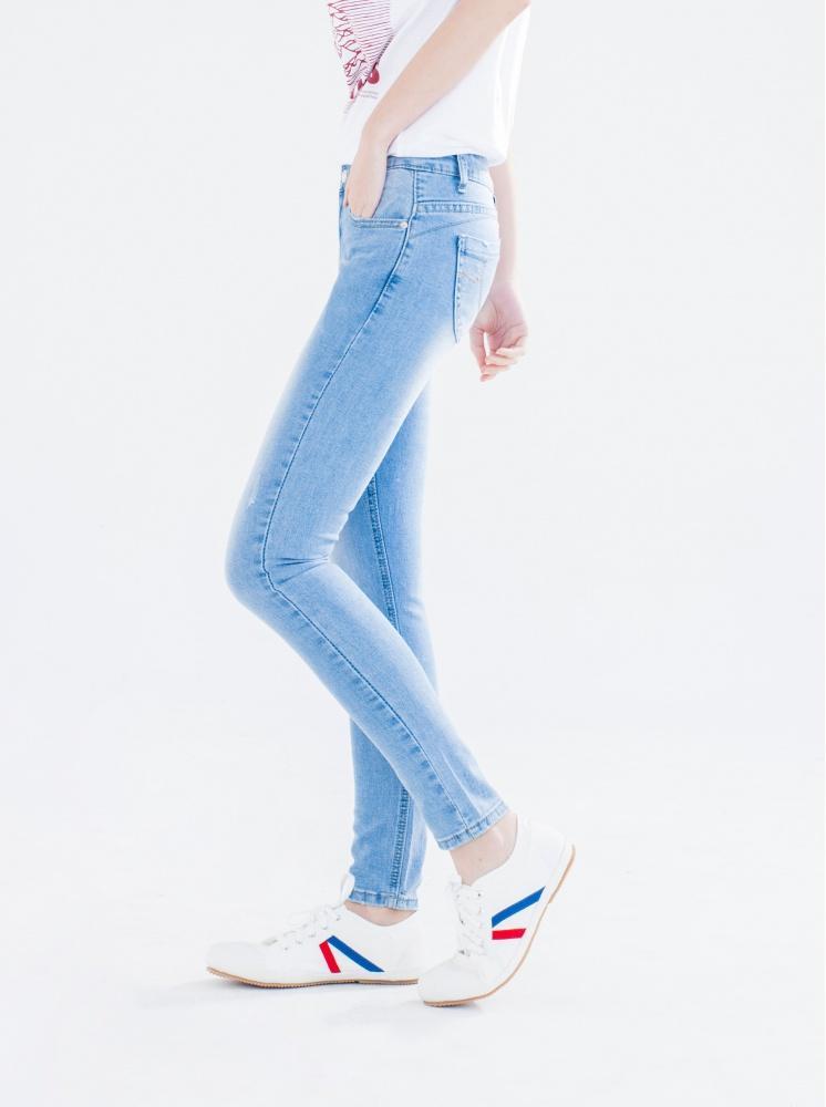 縮脂提臀窄管牛仔褲-藍