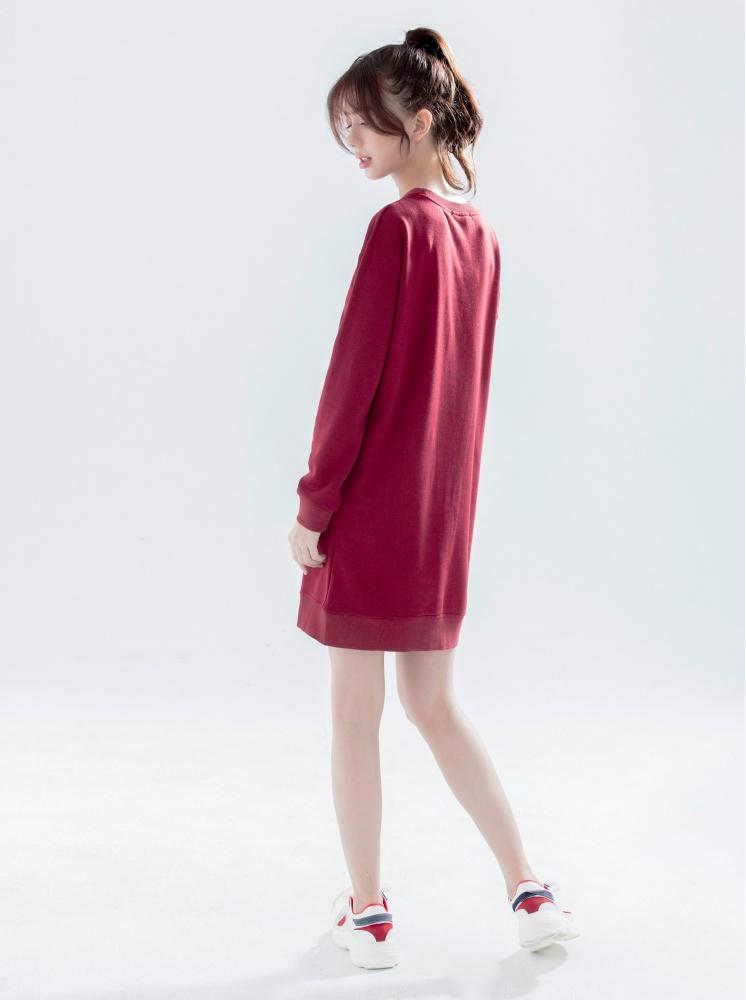 復古印花洋裝-暗紅
