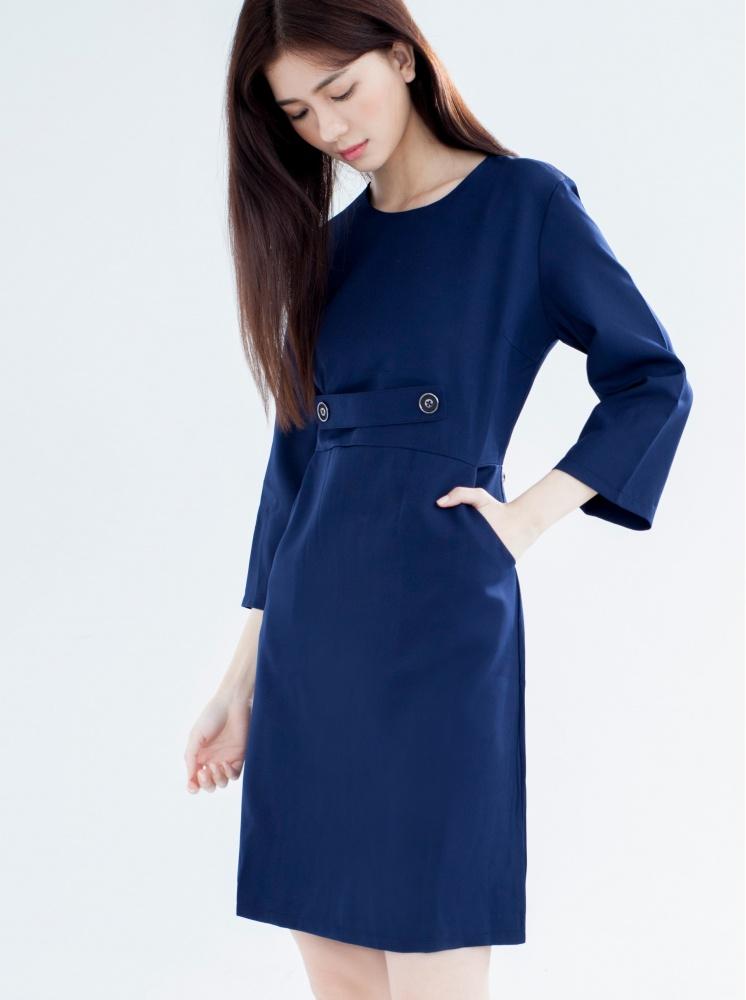 修身口袋洋裝-深藍