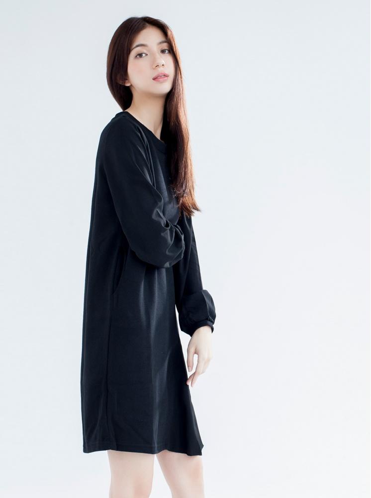 修身拼接洋裝-黑