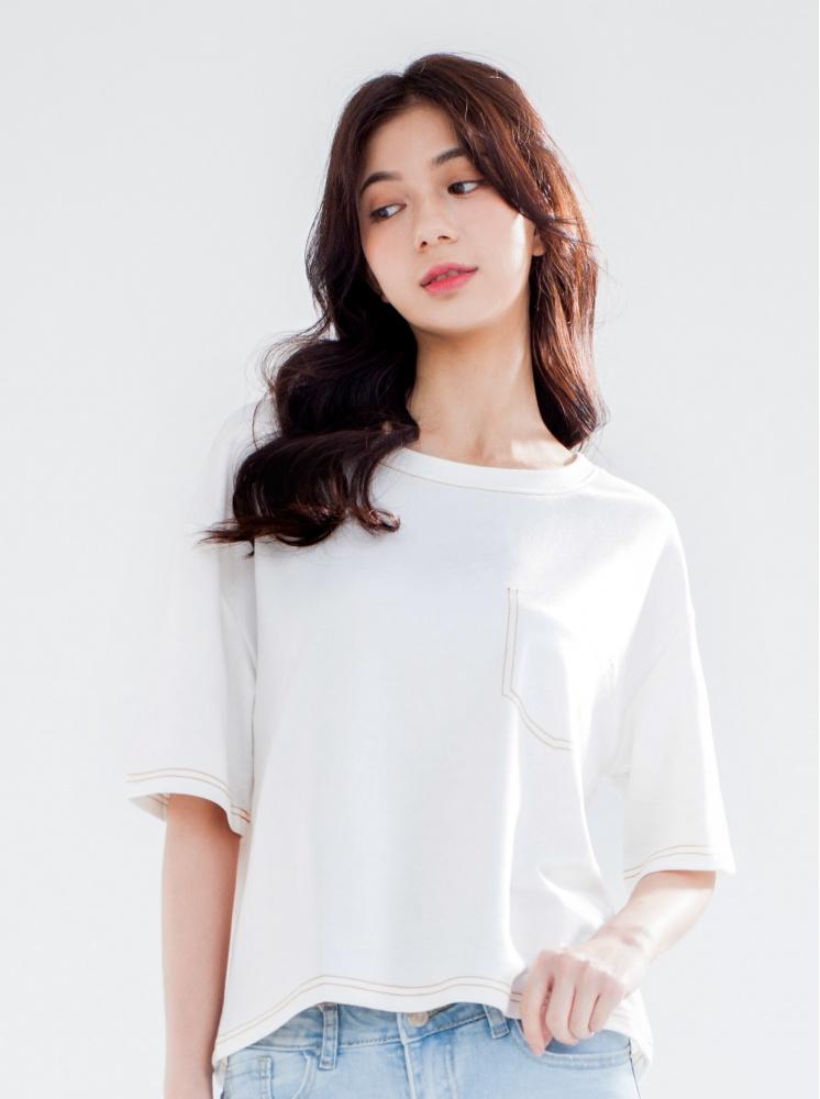 縫線假口袋T-白