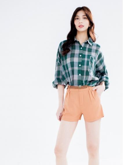 美腿の秘雪紡西裝短褲-黃(附皮帶)