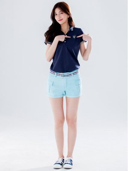 翹臀水洗工作短褲(附腰帶)-淺藍