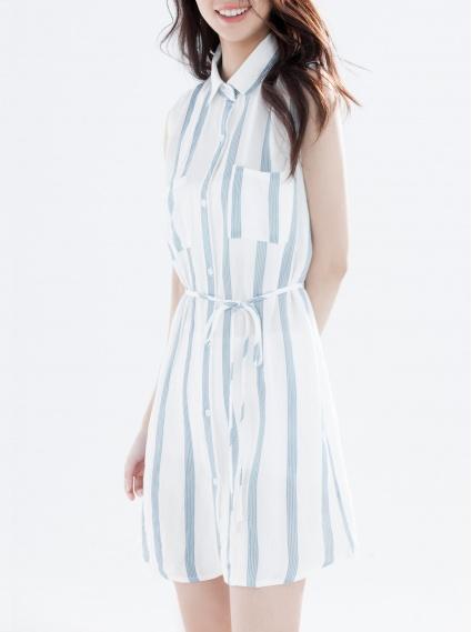 柔棉綁帶洋裝-淺藍
