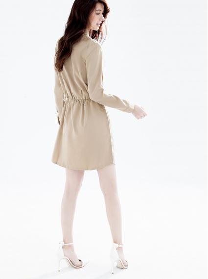 襯衫領鬆緊洋裝-卡其