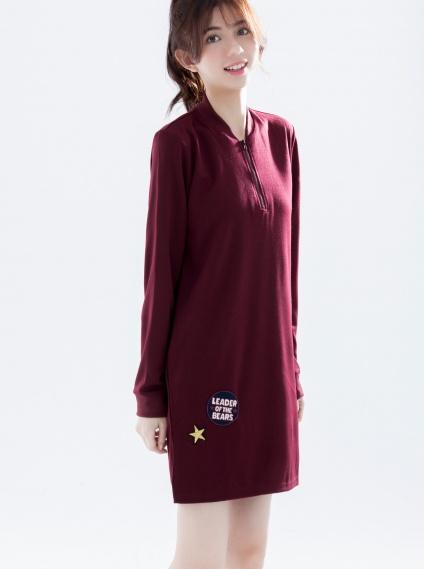 拉鍊貼布繡洋裝-深紫紅