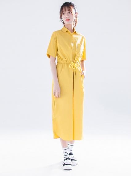 綁帶修身口袋洋裝-土黃