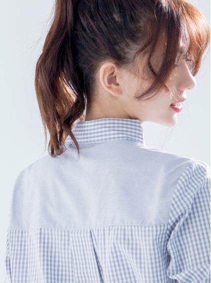 純棉拼接條紋襯衫-灰