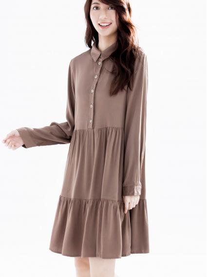 荷葉抽縐襯衫領洋裝-咖啡